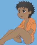 日焼け水着少年のイラスト
