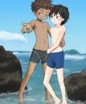 秘密の入り江に少年二人のイラスト(水着)