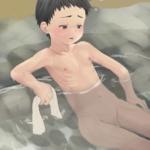 一人で温泉無毛少年のイラスト